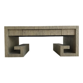 Grasscloth Greek Key Coffee Table For Sale