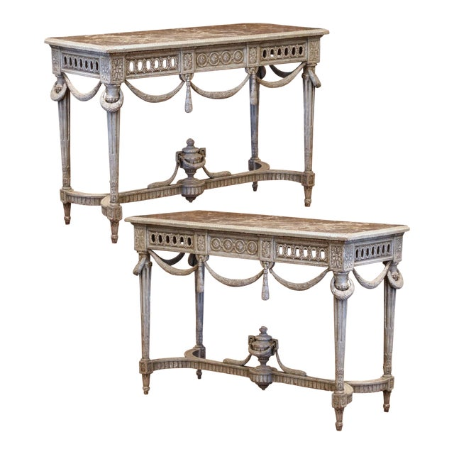 Pair of 19th Century French Carved Painted Consoles Tables With Faux Marble Top For Sale
