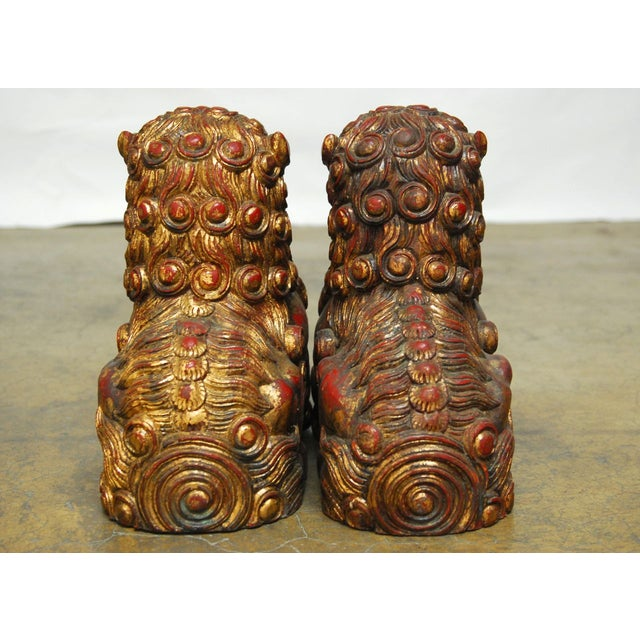 Large Chinese Gilt Temple Foo Dogs - Pair For Sale In San Francisco - Image 6 of 7