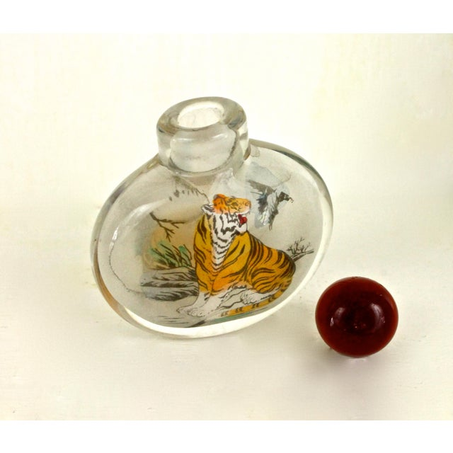 Asian Art Glass Painted Bottle - Image 6 of 6