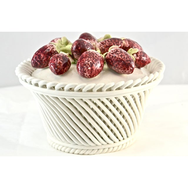 Italian Ceramic Strawberry Top Box For Sale - Image 9 of 9