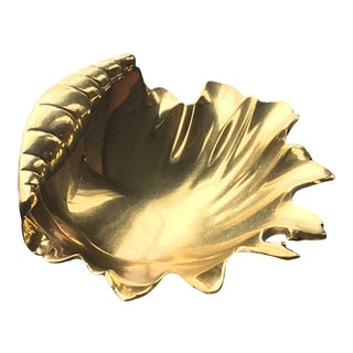 Vintage Ethan Allen Solid Brass Shell Catchall For Sale