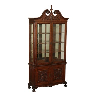 Fine Quality Victorian Antique Carved Oak China Cabinet For Sale