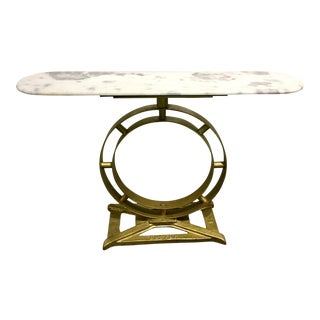 Cyan Design Modern White and Gray Marble Top Console Table For Sale