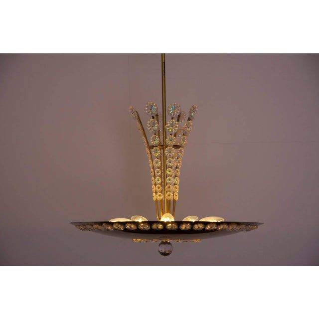 Emil Stejnar Huge Brass and Glass Emil Stejnar Pendant Lamp or Chandelier For Sale - Image 4 of 6