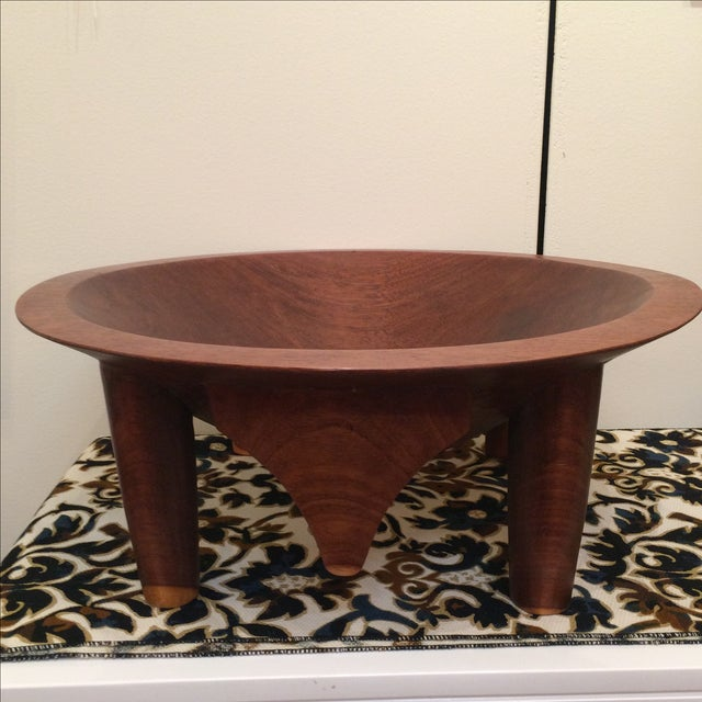 Mid-century Footed Wood Bowl - Image 2 of 7
