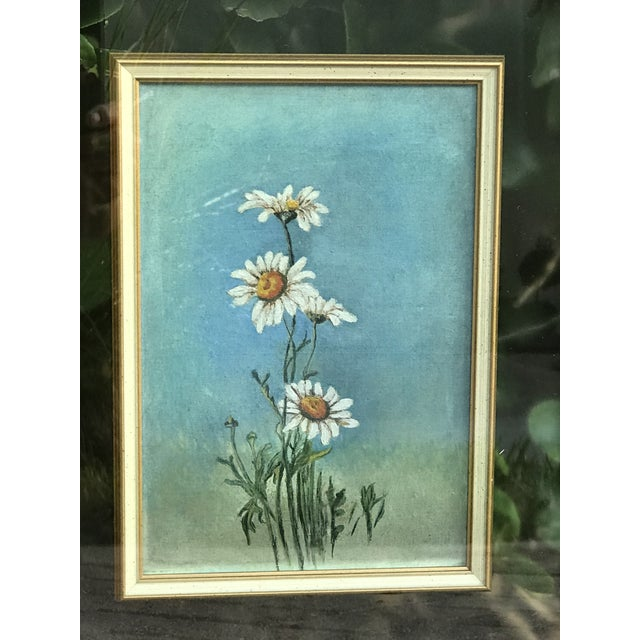 """Impressionist Mid-Century Original """"Summer Daisies"""" Painting Mounted in a Double Glass Frame For Sale - Image 3 of 7"""
