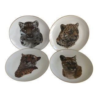 Vintage Handcrafted Lion Cougar Plates, Set of Four For Sale
