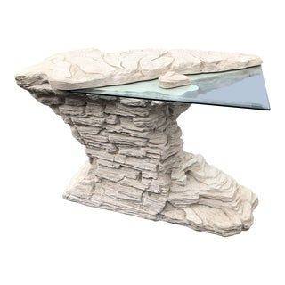 Vintage Hollywood Regency Faux Stone Rock Console Table For Sale