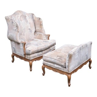 Vintage Trouvailles Chair and Ottoman For Sale