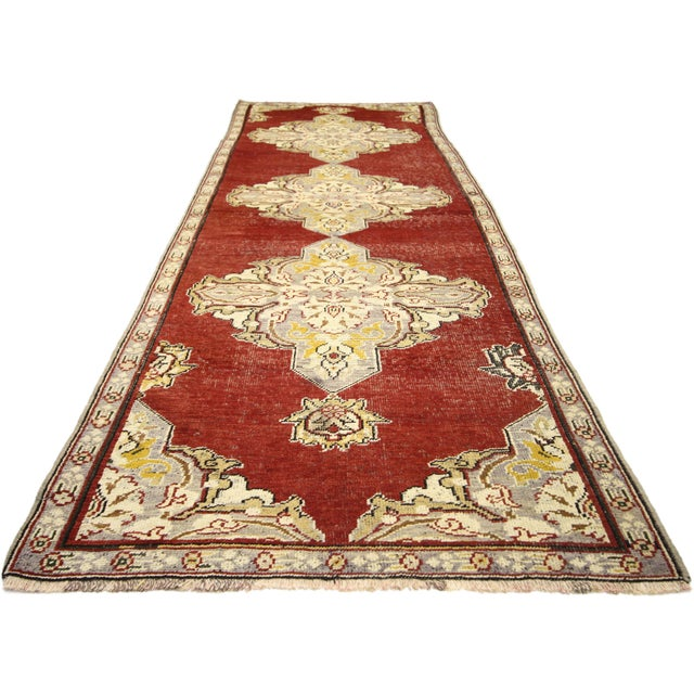Art Deco Early 20th Century Antique Turkish Oushak Hallway Runner Rug - 03'04 × 10′07 For Sale - Image 3 of 7