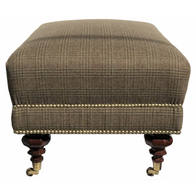 English New 2020 Edwardian Bench Ottoman Brass Nails Solid Brass Casters Ralph Lauren Fabric For Sale - Image 3 of 6