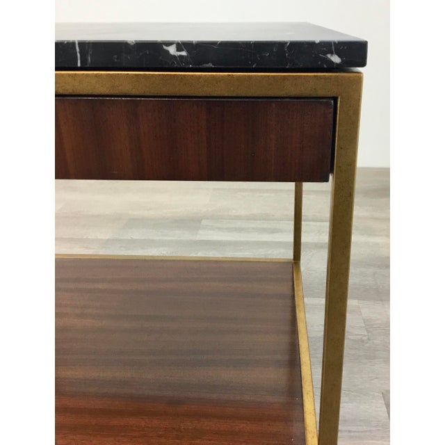 Mid-Century Modern Mid-Century Modern Style Black Marble and Walnut Finished Wood Copeland End Table For Sale - Image 3 of 7