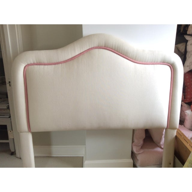 2000s Pink & White Upholstered Headboard For Sale - Image 5 of 5