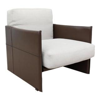 Modern Italian Rodolfo Dordoni for Minotti Brown Leather Luggage Armchair Lounge For Sale