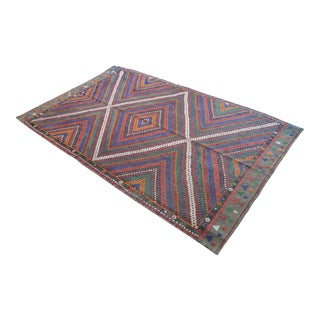 """Vintage Turkish Rug Hand Woven Wool Braided Cotton Area Rug Kilim - 6'8"""" X 10'8"""" For Sale"""