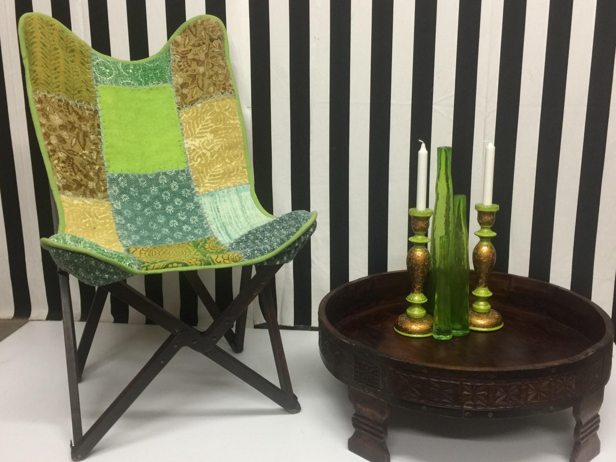 Vintage Handcrafted Sling Back Folding Chairs   A Pair   Image 4 Of 5
