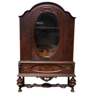 Exceptional Antique Victorian Carved Mahogany China Curio Bookcase Cabinet