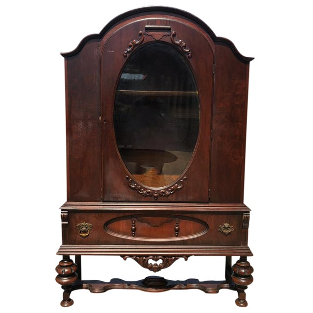 Exceptional Antique Victorian Carved Mahogany China Curio Bookcase Cabinet For Sale