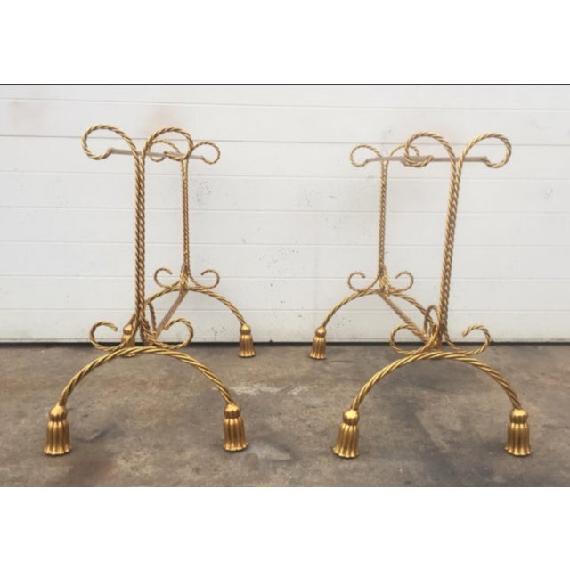 Gold Gilt Tassel Metal Towel Rack - a Pair For Sale - Image 5 of 5