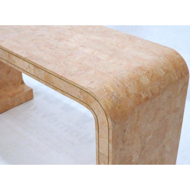Stone Tessellated Marble Stone Brass Inlay C Bracket Shape Console Sofa Table For Sale - Image 7 of 11
