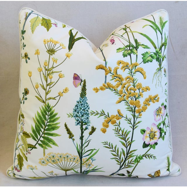"Early 21st Century Wildflower Botanical Cotton & Linen Feather/Down Pillows 24"" Square - Pair For Sale - Image 5 of 13"