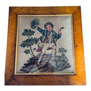 Late 1800s English Needlepoint With Maple Frame For Sale