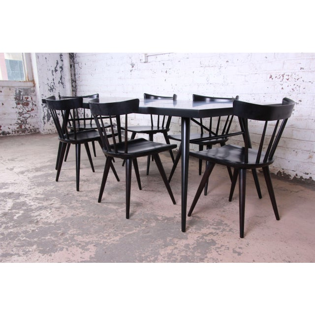 Planner Group 1950s Paul McCobb for Planner Group Ebonized Extension Dining Table & Chairs - Set of 6 For Sale - Image 4 of 13