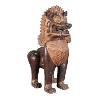 Antique Burmese Cast-Bronze Temple Guardian Lion For Sale