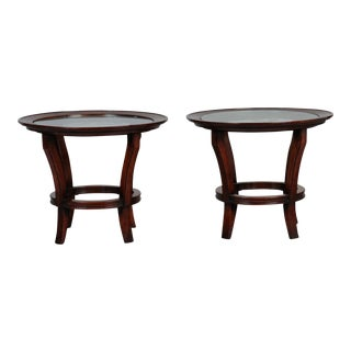 Pair French Mid Century Side Tables with Etched Glass Tops For Sale