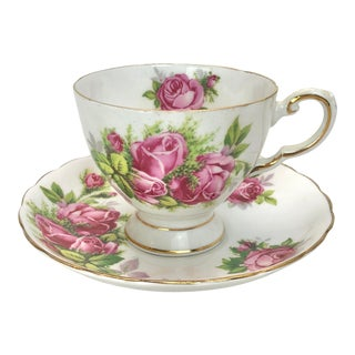 Tuscan Moss Rose Pattern Tea Cup and Saucer For Sale