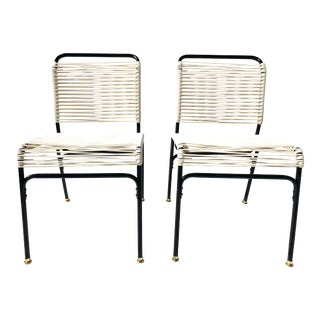 Vintage Spaghetti Chairs in Black & Beige - A Pair For Sale