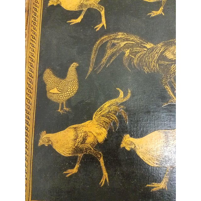 2010s Antique Bamboo Table With Decoupage Roosters For Sale - Image 5 of 8