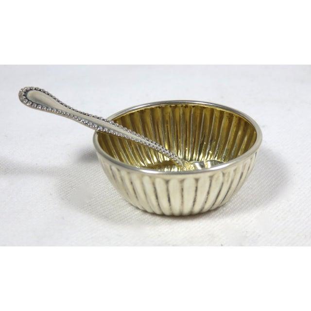 Vintage Sterling Silver Open Salt Cellars & Spoons - 12 Piece Set For Sale - Image 11 of 13