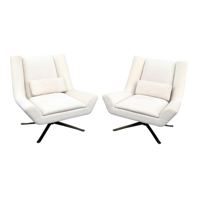 Pair of Restoration Hardware Luke Swivel Chairs For Sale