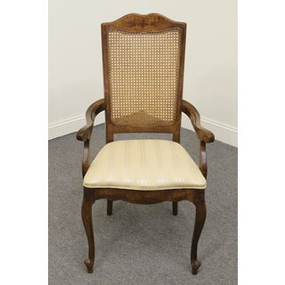 Late 20th Century Vintage Stanley Furniture Fleur De Bois Country French Fruitwood Cane-Back Arm Chair Preview