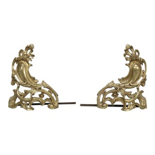 Antique French Solid Bronze Andirons or Chenets - a Pair For Sale