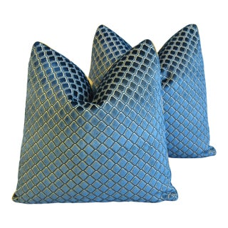 "Lee Jofa Blue Diamond Velvet Feather/Down Pillows 21"" Square - Pair For Sale"