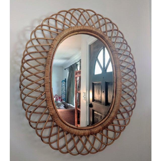 Italian Italian Rosenthal Netter Coiled Wicker Oval Mirror For Sale - Image 3 of 8