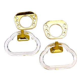 Vintage Lucite & Brass Wall Mount Towel Rings + Toothbrush/Tumbler Holders | Set of 4 | Chic Functional Bathroom Décor For Sale