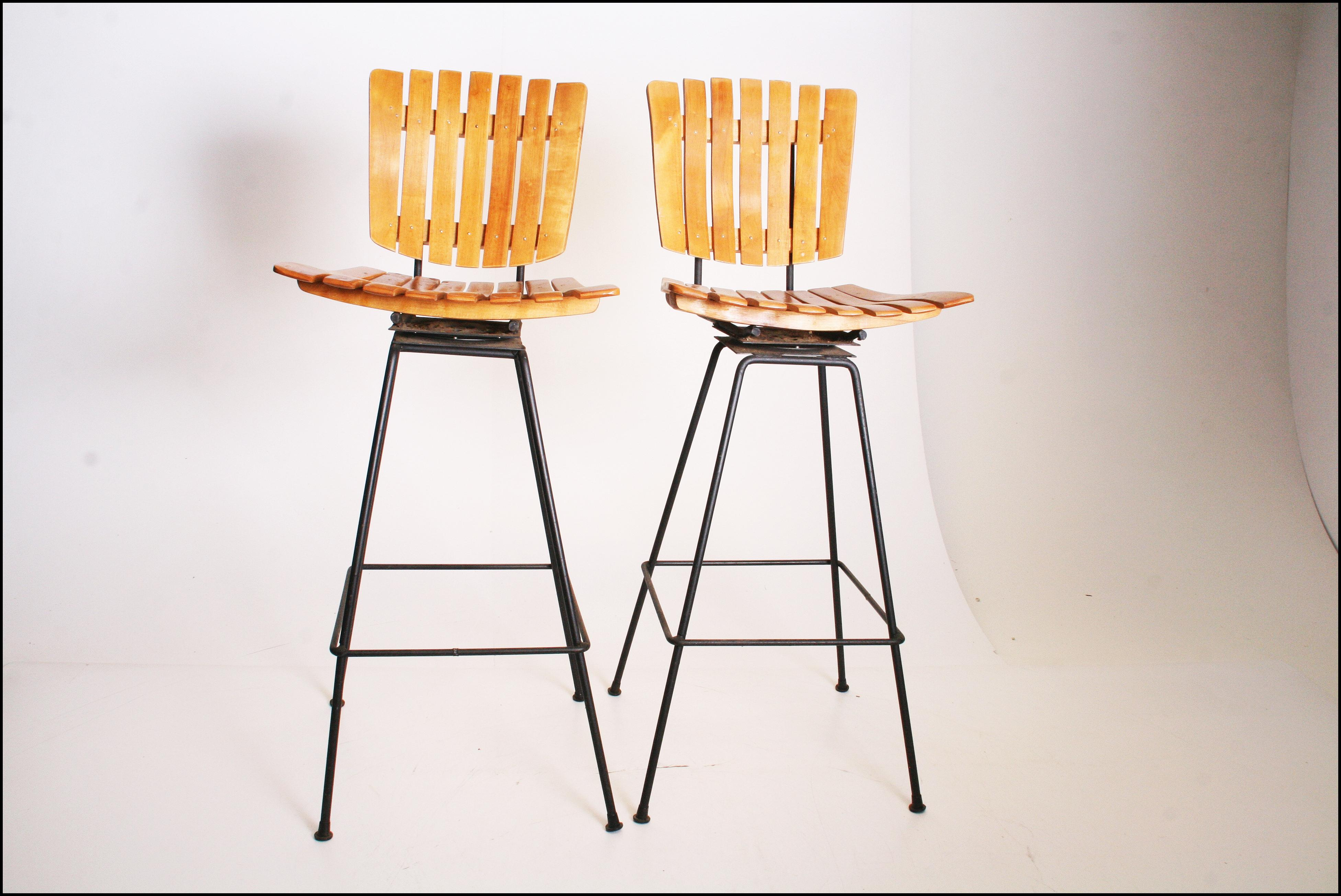 Mid Century Modern Arthur Umanoff Swivel Bar Stools Set