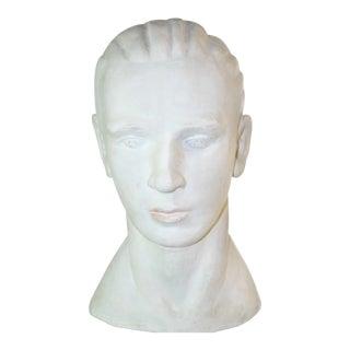 1930's Art Deco Milliners Plaster Cast Male Bust