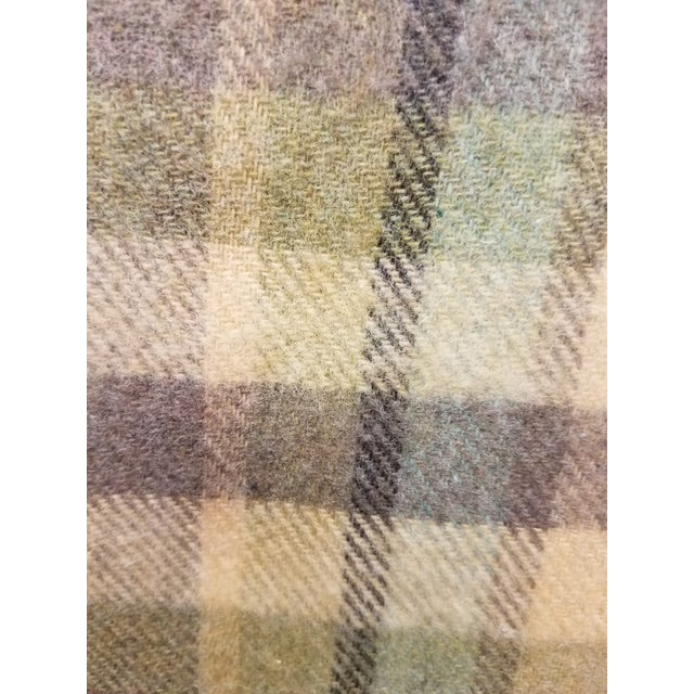 Purple Merino Wool Throw Soft Light Beige Green Blue Purple Plaid - Made in England For Sale - Image 8 of 9