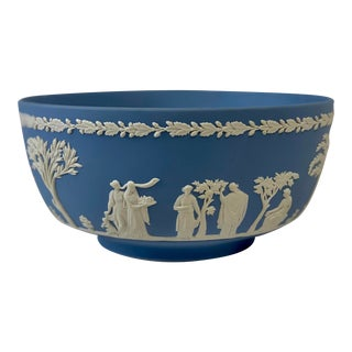 Vintage Signed Wedgwood Blue Jasperware Decorative Bowl For Sale