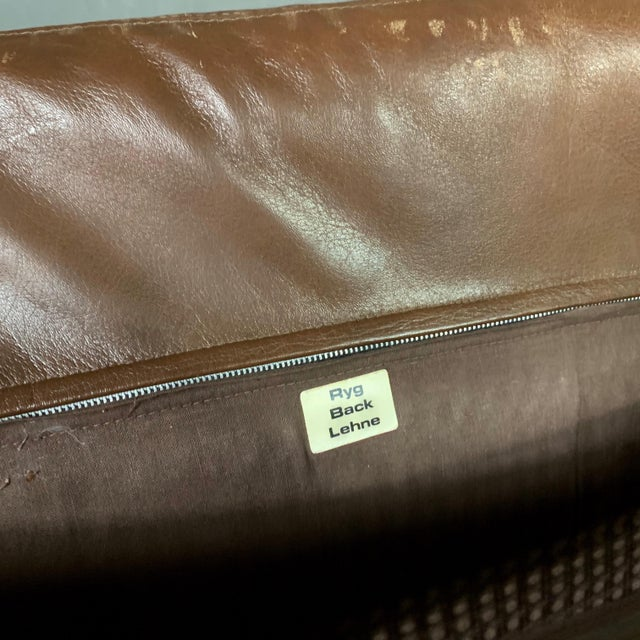 Danish Leather Lounge Chair With French Cane Sides, Late 1970s For Sale - Image 9 of 10