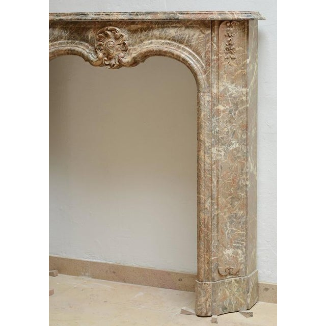 Hollywood Regency Beautiful Petite Marble Régence Style Fireplace Mantel For Sale - Image 3 of 10