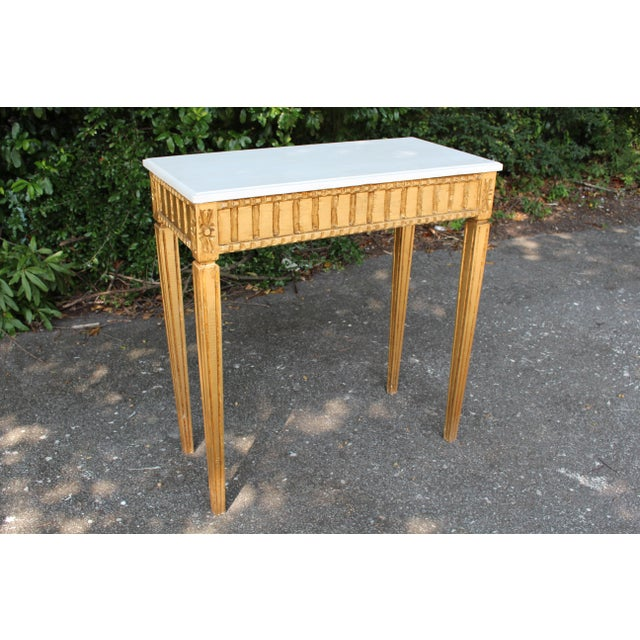 Marble French Country Wooden Top Occasional Table For Sale - Image 7 of 7