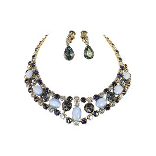 D&e Juliana Sapphire & Cats-Eye Art Glass Necklace Set, 1960s For Sale