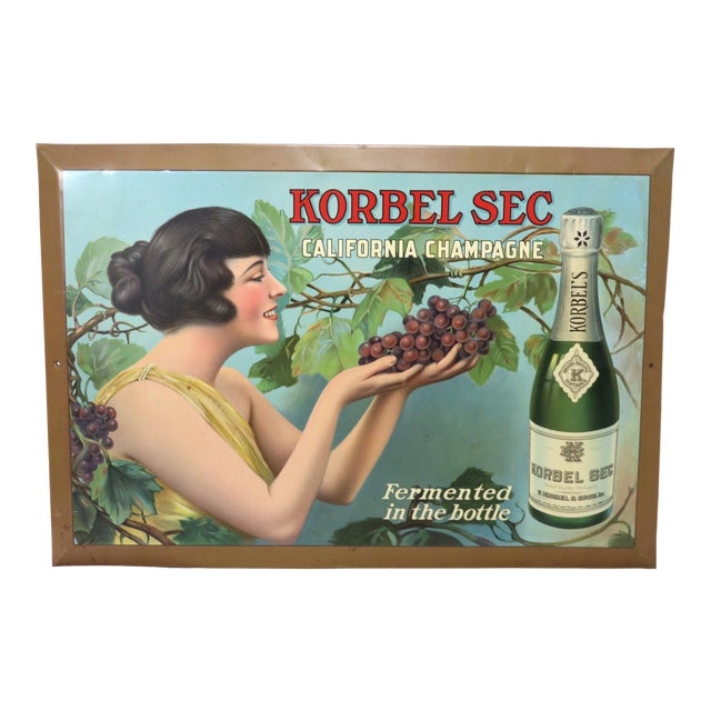 1920s Antique California Champagne Advertising Sign For Sale