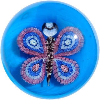 Murano Vintage Blue Millefiori Flower Mosaic Italian Art Glass Mid Century Butterfly Paperweight For Sale